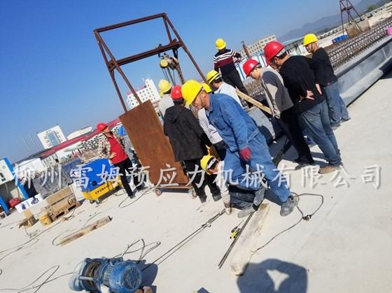 2019年12月17日,广东潮州桥梁施工项目部,采用了我公司CPZB4×2-600A智能变频张拉系统、智能张拉千斤顶。